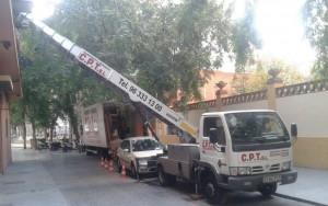 Grua montamuebles y obras Valencia Mudanzas CPT